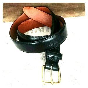 SALE💥 COLE HAAN Mens Leather Belt Brass Buckle 34